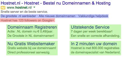 ad extensions Hostnet
