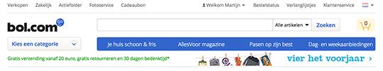 Bol.com header