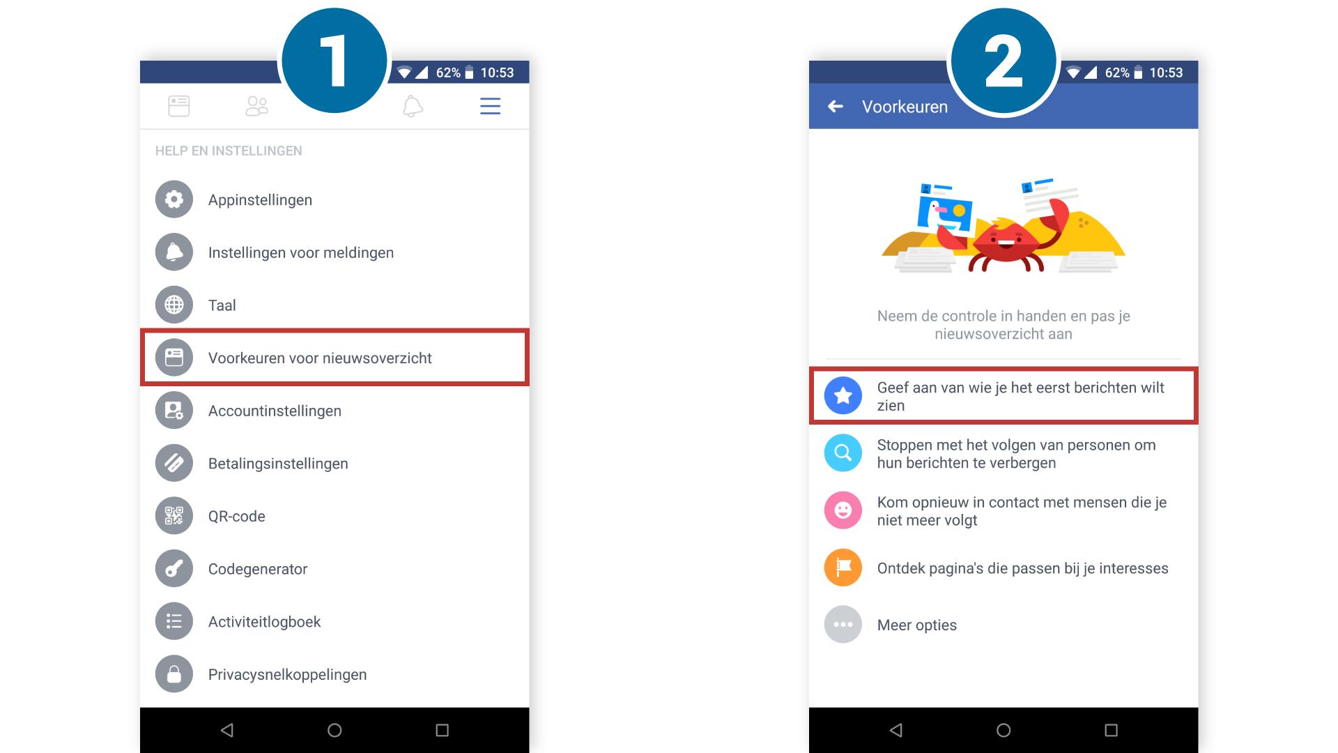 Android: voorkeuren tijdlijn aanpassen