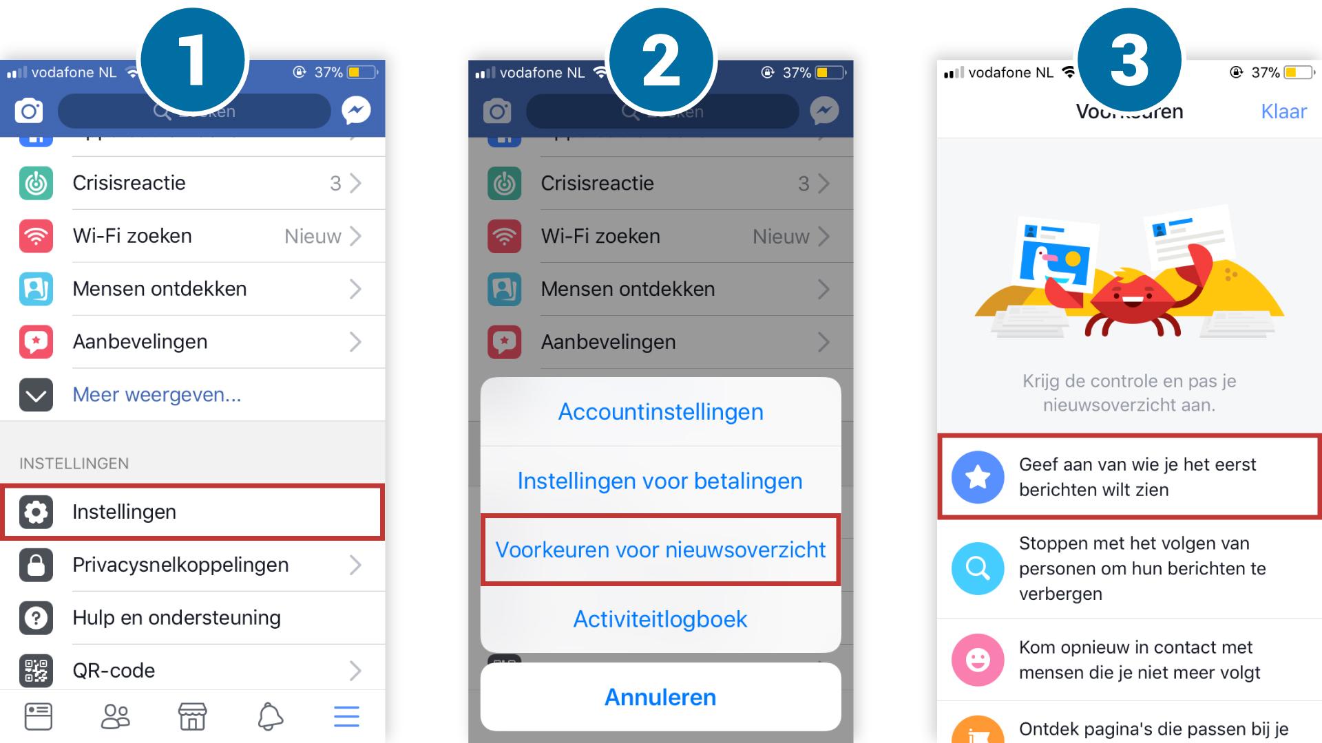 iOS: voorkeuren tijdlijn aanpassen