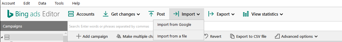 Klik op 'Import' en vervolgens op 'Import from Google' in de Bing Ads-editor.