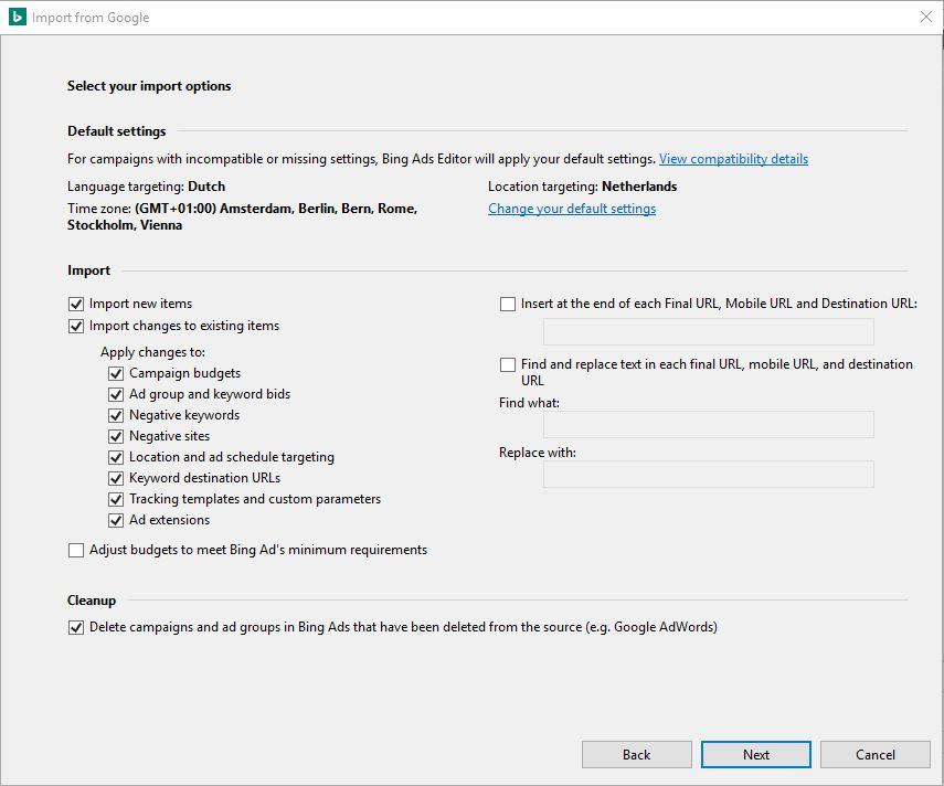 Selecteer wat je wilt importeren en klik op 'Change your default settings' als 'language targeting' niet op de juiste taal staat
