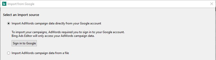 Kies vervolgens voor 'import directly from your Google AdWords account'.