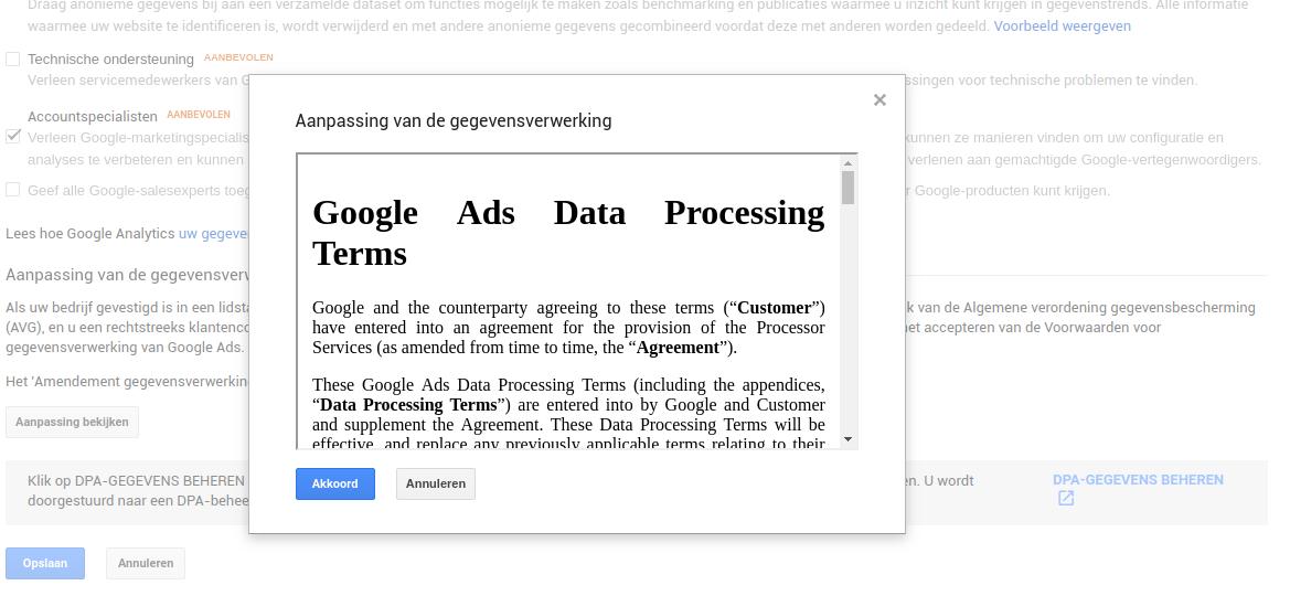 Aanpassing van de gegevensverwerking Google Analytics