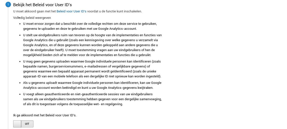 Beleid voor User ID's Google Analytics