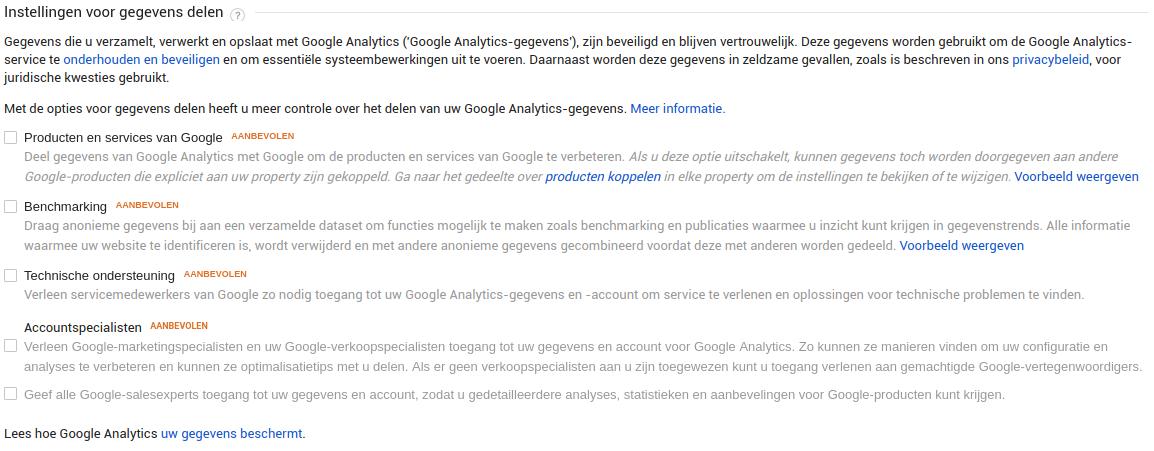 Instellingen voor gegevens delen Google Analytics