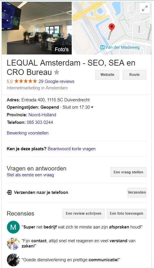 Voorbeeld Google Mijn Bedrijf
