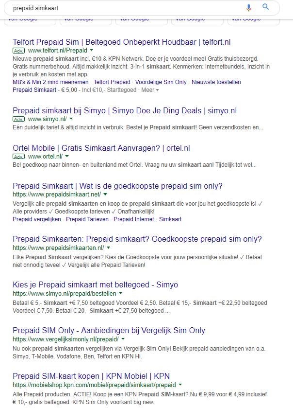 Voorbeeld top 3 Google voor zoekwoord