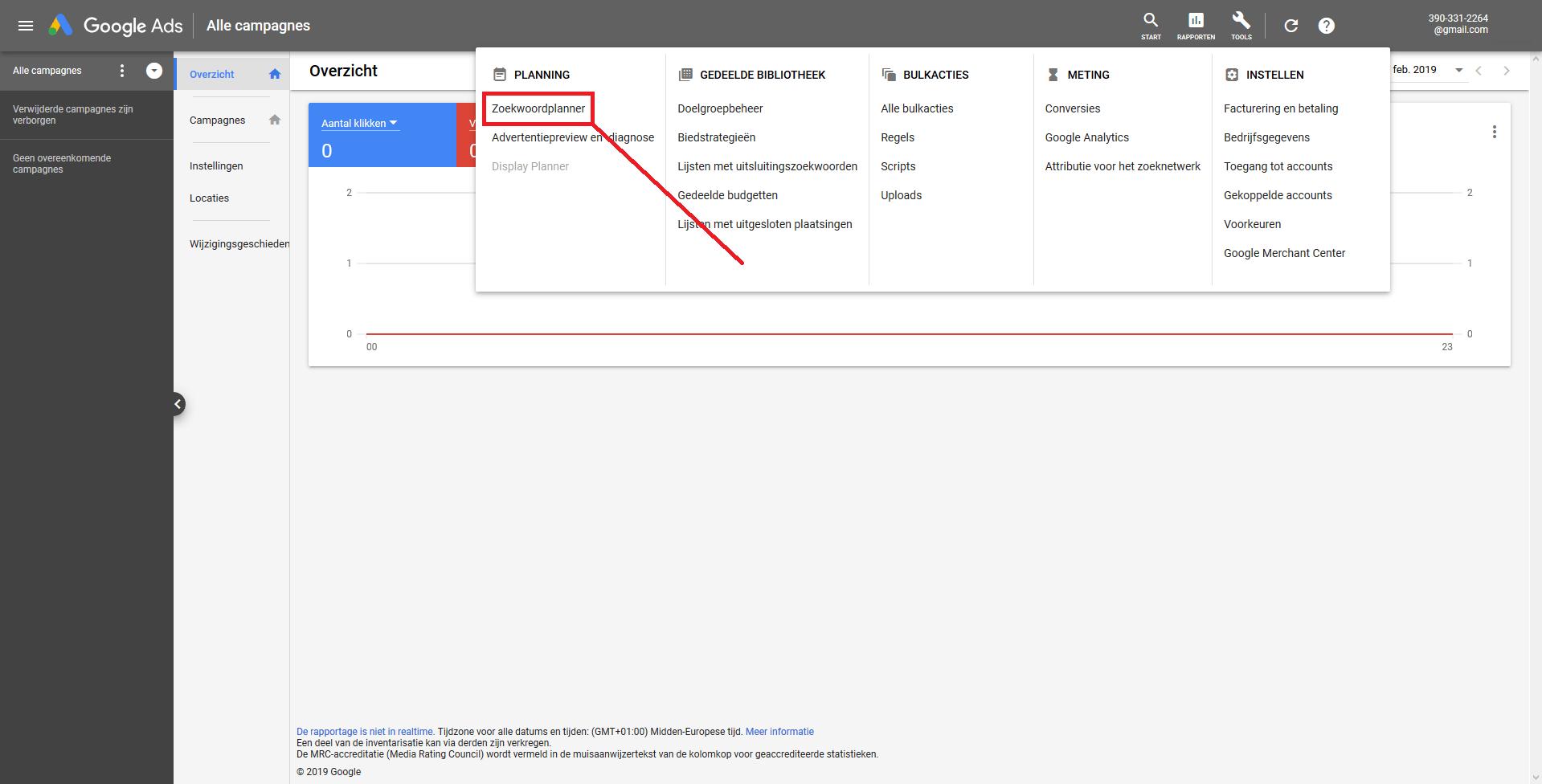 Voorbeeld Planning, Zoekwoordplanner Google Keyword Planner