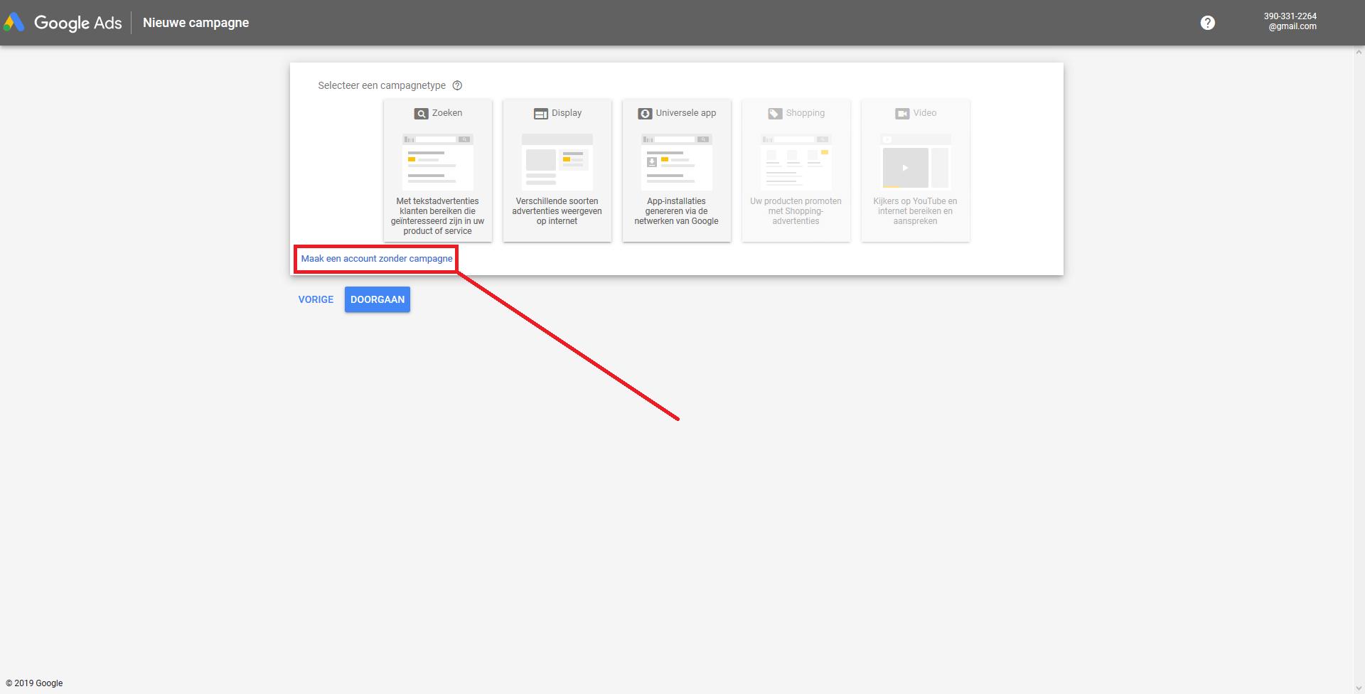 Voorbeeld 'Selecteer een campagnetype' Google Keyword Planner