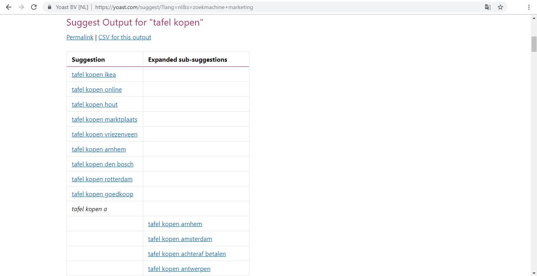 Voorbeeld uitkomst Yoast Google Suggest Expander