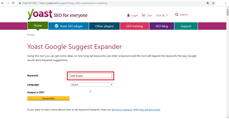 Voorbeeld Yoast Google Suggest Expander