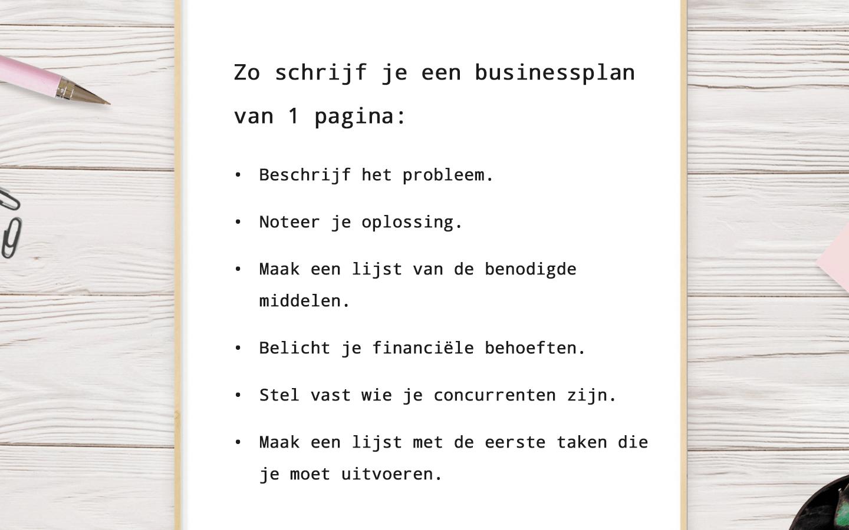 Zo schrijf je een businessplan van 1 pagina