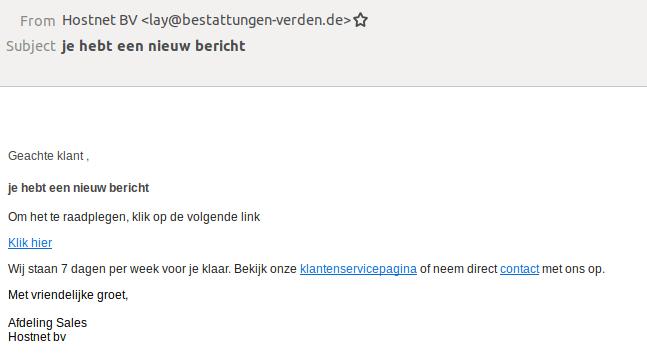 Voorbeeld van de phishingmail